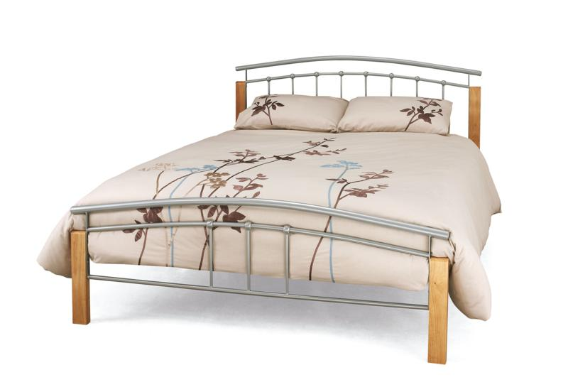 Serene Tetras Silver & Beech Metal Bed Frame from £99